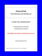 Evaluations grande section : livret du maître.
